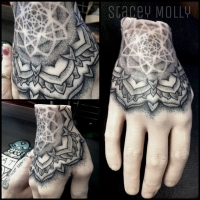 Liquid Silver Tattoo on Hoddle Stacey Molly Dotwork