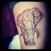 Liquid Silver Tattoo on Hoddle Elephant tattoo