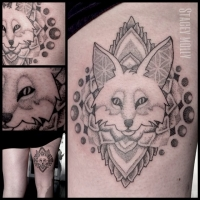 Liquid Silver Tattoo on Hoddle Stacey Molly Dotwork Fox Tattoo